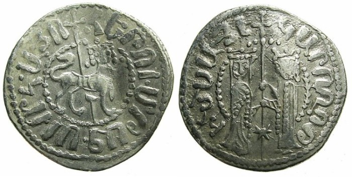 Ancient Coins - ARMENIA.Hetoum I and Zabel AD 1226-1270.AR.Tram.