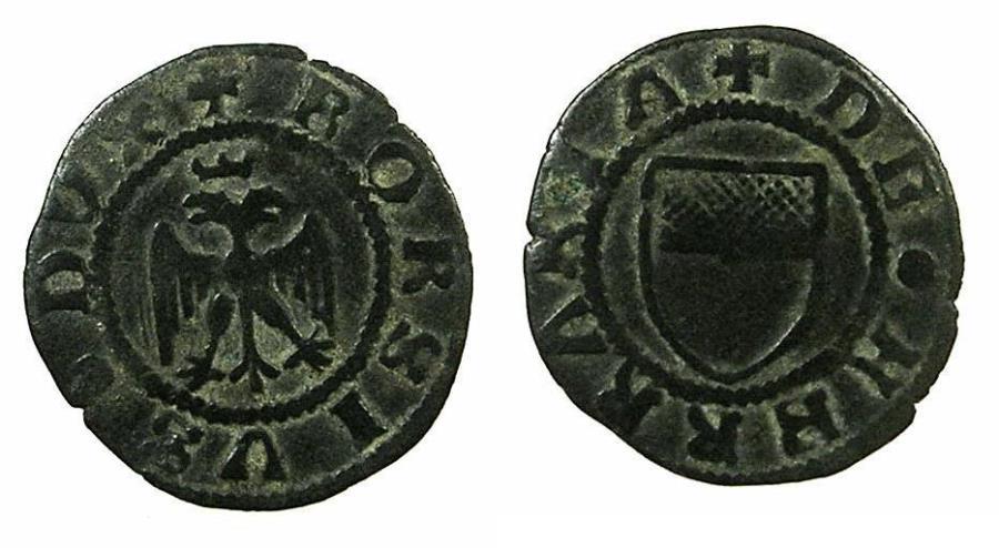 World Coins - ITALY.FERRARA.Borso D'Este 2nd period Duke of Modena and Reggio AD 1452-1471 and elevated from Marquis to  Duke of Ferrara for one year AD 1471.AE.Quattrino.