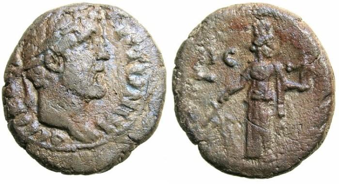 Ancient Coins - EGYPT.Antoninus Pius AD 138-161.Bi.Tetradrachm.AD 152/153.Mint of ALEXANDRIA.Reverse.Tyche standing.