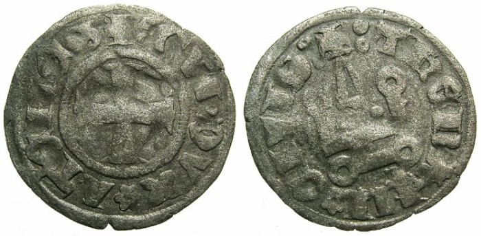 Ancient Coins - CRUSADER.Dukes of ATHENS.Guy II of la Roche AD 1287-1308.Bi.Denier.Type 1a.
