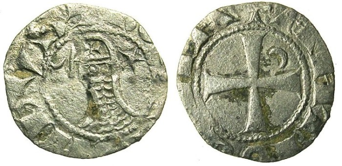 Ancient Coins - CRUSADER.Principality of ANTIOCH..Bohemond III or IV c.1163-1233..Bi.Denier clipped to size of an OBOL