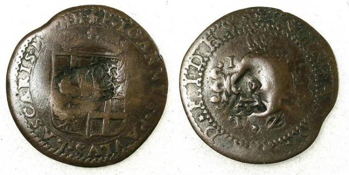 Ancient Coins - Malta Jean Paul Lascaris Castellar 1636 1657 AE 2 Tari 1643 bearing 2 countermarks