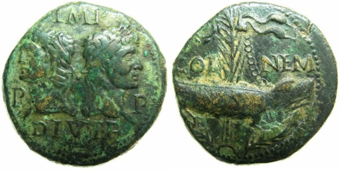 Ancient Coins - GAUL.NEMAUSUS.Augustus 27 BC - AD 14.AE.As.Struck circa 9/8- 3 BC.BC.Crocodile chained to palm.