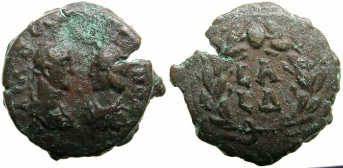 Ancient Coins - EGYPT.ALEXANDRIA.Aurelian and Vabalathus AD 270-271.AE.Diobol.~~~Facing busts.~#~.Double dates within wreath.