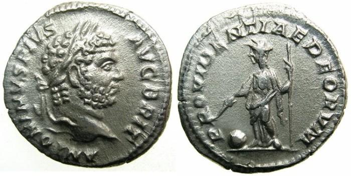Ancient Coins - ROMAN.Caracalla Augustus AD 209-211.AR.Denarius undated issue AD 210-213.~~~PROVIDENTIA.