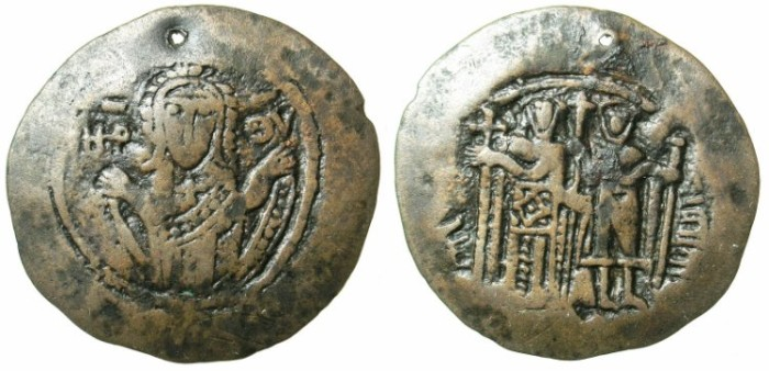 Ancient Coins - BYZANTINE EMPIRE.Unknown location.CHERSON???Michael VIII and Andronicus II AD 1273-1282.AE.Trachy.