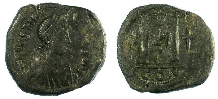 Ancient Coins - Byzantine Empire. Justinian I AD 527-565.AE.Follis.Constantinople mint.