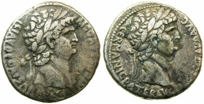 Ancient Coins - SYRIA.Seleucis and Pieria.Nero with Divus Claudius AD 54-68.AR.Tetradrachm.Uncertain mint.