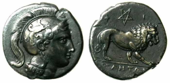 Ancient Coins - LUCANIA.VELIA.4th - 3rd cent. BC.AR.Didrachm.Athena /  Crouching lion.
