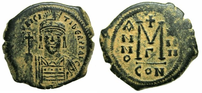 Ancient Coins - BYZANTINE EMPIRE.Maurice Tiberius AD 582-602.AE.Follis.Year 14.Mint of CONSTANTINOPLE.