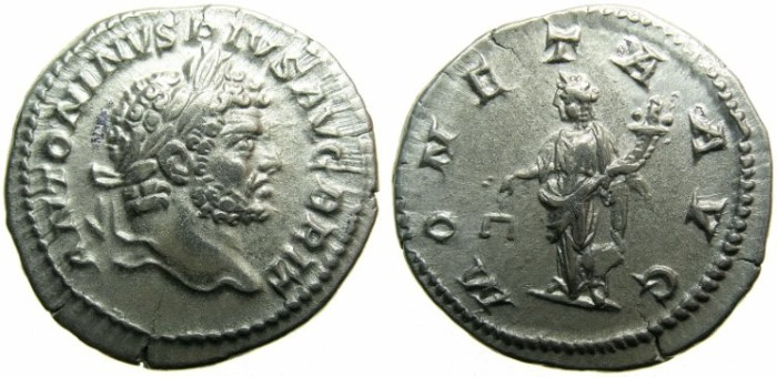 Ancient Coins - ROMAN.Caracalla Augustus.AR.Denarius undated issued c.210-213.Augustus BRIT ~~~MONETA standing left holding scales.