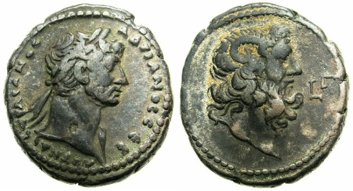 Ancient Coins - EGYPT.ALEXANDRIA.Hadrian AD 117-138.Billon Tetradrach, struck AD 118/119.~#~Head of Ammon.