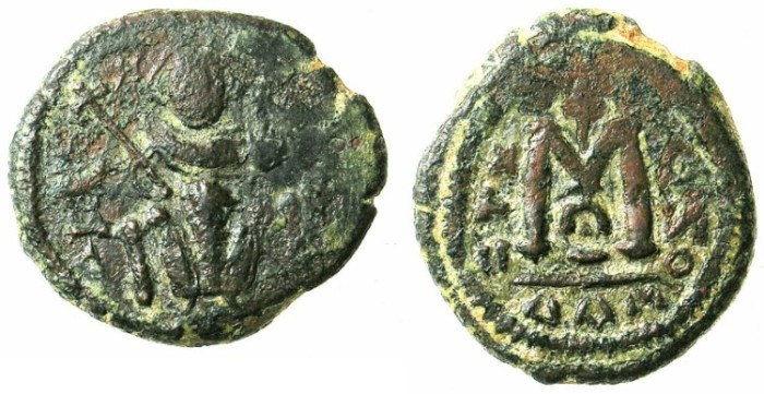 Ancient Coins - ARAB-BYZANTINE.7th cent AD.AE.Fals.Damascus mint.Imperial figure enthroned.
