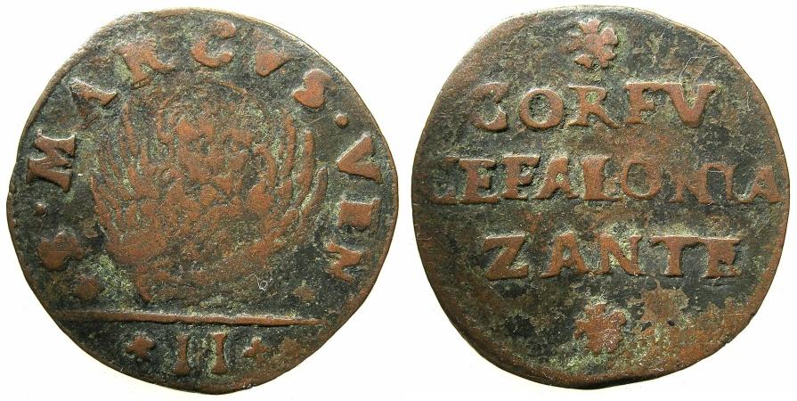 World Coins - VENICE.IONION ISLANDS.Giovanni Corner AD 1709-1722.AE.2 Gazzettas ( circa 1710-21 ).Var.with full name of Cephalonia.
