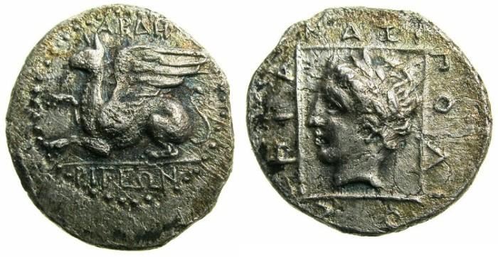 Ancient Coins - THRACE.ABDERA.Circa 365/6 - 350/45.AR.Tetrobol.Magistrate ANAXIGOLIOS.~~~Griffin.~#~Apollo head.