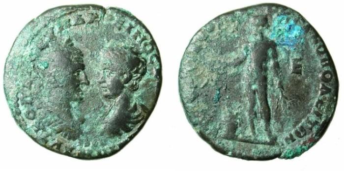 Ancient Coins - MOESIA INFERIOR.Macrinus with Diadumenian Caesar AD 217-218.AE.Five assaria.Dionysos