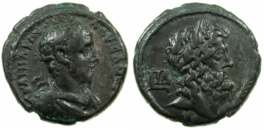 Ancient Coins - EGYPT.ALEXANDRIA.Severus Alexander Augustus AD 222-235.Billon Tetradrachm, struck AD 234/35.~#~.Bust of Zeus,palm branch in front.