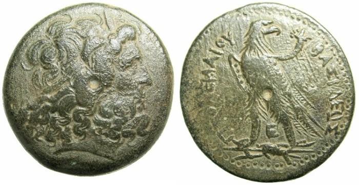 Ancient Coins - EGYPT.ALEXANDRIA.Ptolemy III Euergetes I  246-221 BC.AE.Drachma.Zeus Ammon.Eagle.