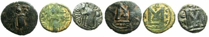 Ancient Coins - ARAB  -BYZANTINE.Emessa.AE.Fals.Three coins.Standing Imperial figure.
