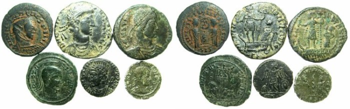 Ancient Coins - ROMAN.Barbarous contemporary imitations.Group of Six coins.
