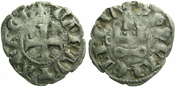 Ancient Coins - CRUSADER. ACHAIA.Mahault of Hainault AD 1316-1321.Bi.Denier.Type MA2.Mint of CORINTH.