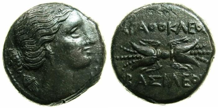 Ancient Coins - SICILY.Agathokles 317-289 BC.AE.20.5mm.~~~Artemis-Soteira. ~#~.Thunderbolt.