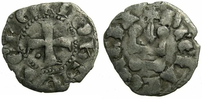 World Coins - CRUSADER STATES.GREECE.Principality of ACHAIA.John of Gravina AD 1322-1333. Billon Denier