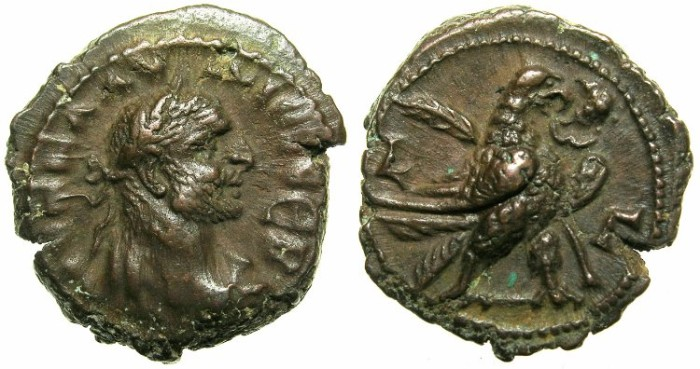 Ancient Coins - EGYPT.ALEXANDRIA.Claudius II Gothicus AD 268-270.Billon Tetradrachm, struck AD 269/270.~#~.Eagle standing right, palm branch behind.