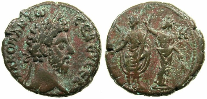 Ancient Coins - EGYPT.ALEXANDRIA.Commodus AD 180-192.Bi.Tetradrachm, struck AD 187/188.~#~.Emperor crowned by Alexandria