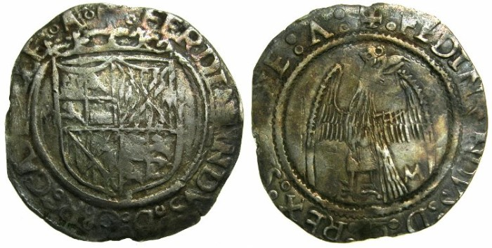 Ancient Coins - ITALY.SICILY.Ferdinand the Catholic AD 1474-1516.AR.Tari.Sigla M ****Unpublsihed in Sphar and MEC 14 ****