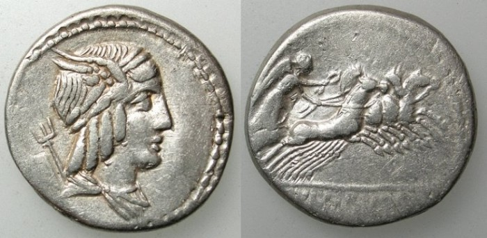 Ancient Coins - ROME Republic L.Julius Burso 85 BC AR.Denarius Male bust Apollo,Merucary & Nepturne