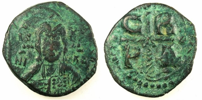 Ancient Coins - BYZANTINE EMPIRE.Romanos IV Diogenes AD 1068-1071.AE.Follis.Facing bust of Christ.Constantinople mint.