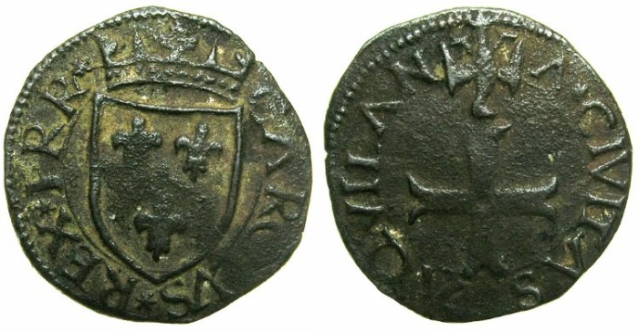 World Coins - ITALY.Kingdom of NAPLES.Charles VIII of France AD 1495-1496.AE.Cavallo. Mint of L'Aquila.