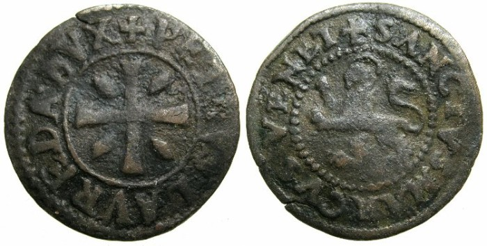 Ancient Coins - CRUSADER STATES.CYPRUS under VENICE.Pietro Loredano AD 1567-1570.AE.Sezino ( Da quartro carzie per Cipro )