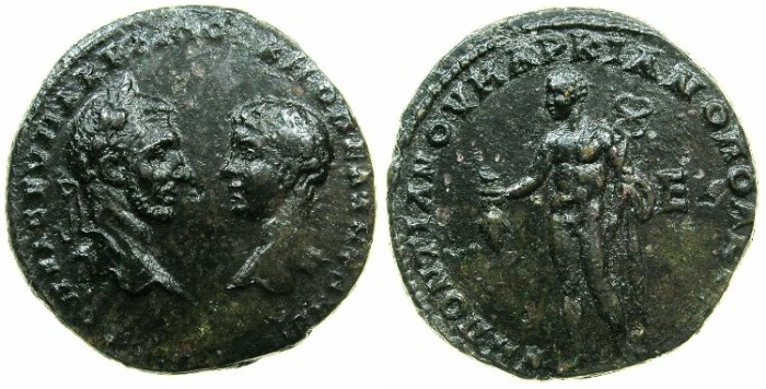 Ancient Coins - MOESIA INFERIOR.MARCIANOPOLIS.Macrinus and Diadumenian Caesar AD 217-218.AE.5 Assaria.Hermes standing naked holding caduceus and purse.