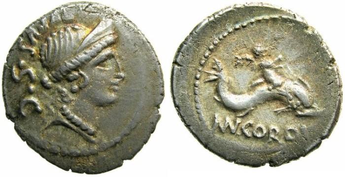 Ancient Coins - ROME Republic Mn Cordius Rufus 46 BC AR Denarius.~#~Cupid riding dolphin.