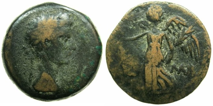 Ancient Coins - EGYPT.ALEXANDRIA.Augustus AD 30 BC - AD 14.AE.Diobol, struck AD 12/13.~#~.Nike flying left.