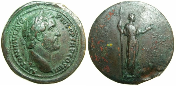 Ancient Coins - BRITISH MUSEUM Electrotype copy of Sestertius issued by Antoninus Pius.Late 19th - early 20th cent AD.