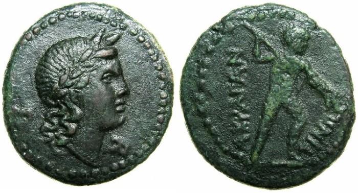 Ancient Coins - SICILY.AKRAGAS.Circa 279-241 BC.AE.24.7mm.~~~Head of Apollo.~#~.Warrior.****Rare grade****