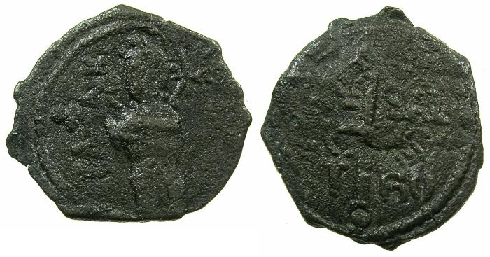 World Coins - CRUSADER STATES.ANTIOCH.Roger of Salerno AD 1112-1119.AE.Follis.1st Type.~~~Christ standing.Rare type.