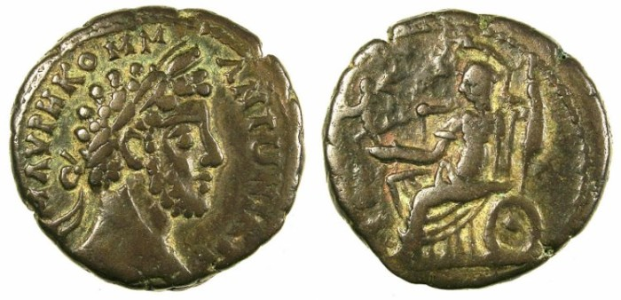 Ancient Coins - EGYPT.ALEXANDRIA.Commodus AD 176-192.Bi.Tetradrachm.Rev.Athena seated.
