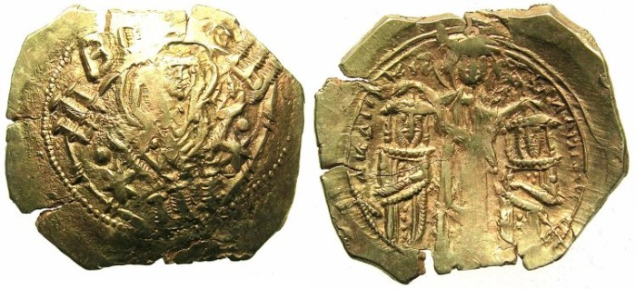 Ancient Coins - BYZANTINE EMPIRE.Andronicus II and Andronicus III AD 1325-1328.AV.Hyperpyron.Mint of CONSTANTINOPLE.UNRECORDED SIGLA COMBINATION
