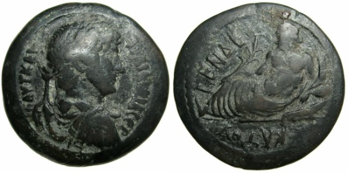 Ancient Coins - EGYPT.ALEXANDRIA.Hadrian AD 117-138.AE.Drachma, struck AD 126/127.~#~.Nilus reclining on crocodile.*****RARE REGNAL YEAR FOR TYPE*****