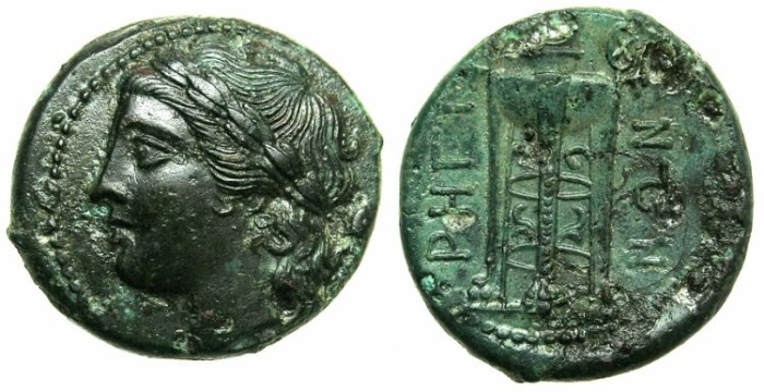 Ancient Coins - BRUTTIUM.RHEGIUM.Circa 270-203 BC.AE.32.Apollo laurate.Tripod.Two tone patina.