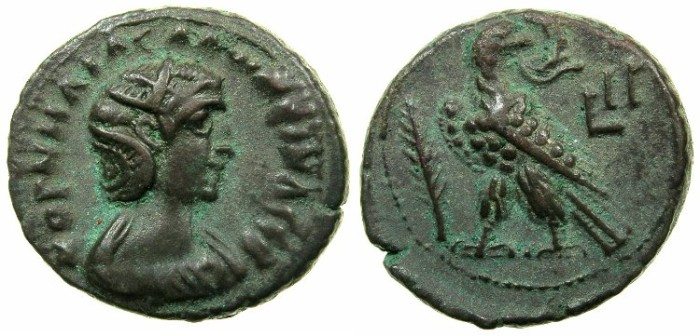 Ancient Coins - EGYPT.ALEXANDRIA.Cornelia Salonina, wife of Gallienus AD 253-268.Billon Tetradrachm, struck AD 265/66.~#~.Eagle on thunderbolt.