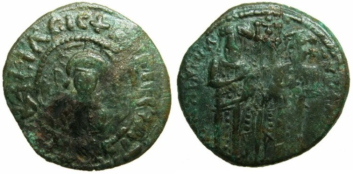 Ancient Coins - BYZANTINE EMPIRE.Andronicus II and Michael IX AD 1294-1320 or later.AE.Assaria.Class II.~~~Facing bust of Christ.