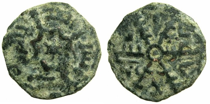 Ancient Coins - ITALY.SICILY.Roger II AD 1105-1154.Reformed coinage.AE.Follaro 540H ( AD 1145/46 ).Mint of MESSINA.