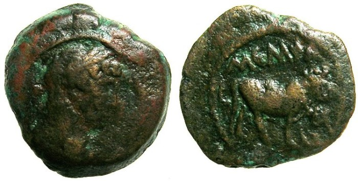 Ancient Coins - EGYPT.MENPHITE NOME.Hadrian AD 117-138.Anepigraphic issue.AE.Dichalkon.Struck AD 126/27.~#~Apis Bull right.