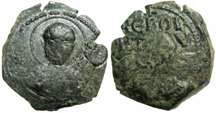 World Coins - CRUSADER STATES. ANTIOCH.Tancred AD 1104-1112.AE.Follis.1st type.~~~Facing bust of Saint Peter.****EXCEPTIONALLY LARGE FLAN ****