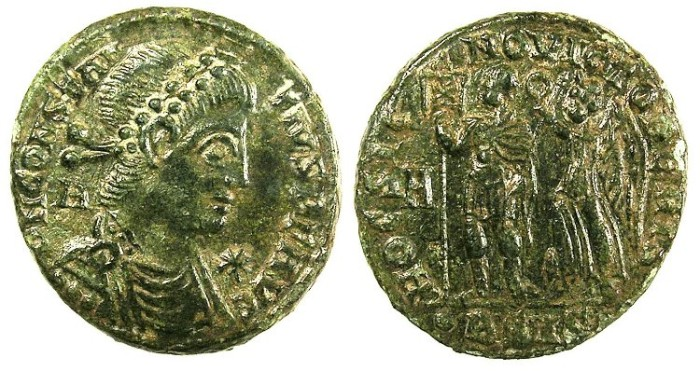 Ancient Coins - ROMAN.Constantius II AD 337-361.AE.Centenionalis.Mint of SISCIA.Emperor and Victory.